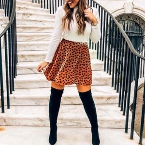 MADEWELL Velvet Circle Skirt In Leopard Dot